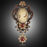 Fashion Antique Gold Silver Vintage Brooch Pins Female Brand Jewelry Queen Cameo Brooches Rhinestone For Women Christmas Gift