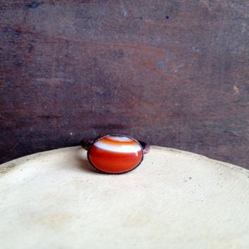 Banded Red Agate Ring - Statement Ring - Banded Agate - Raw Stone Ring - Copper Ring - Semiprecious Stone Ring - SIZE 5.5