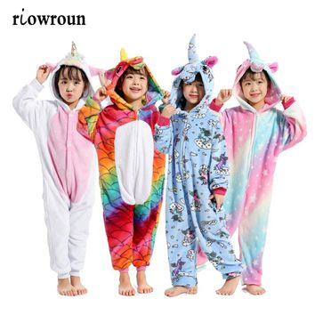 Halloween Children Kigurumi Anime Kids Costumes Cosplay Cartoon Animal Sleepwear Stitch Unicorn Pokemon Winter Warm Hooded 2018