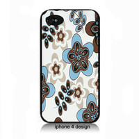 Retro Vintage blue and brown flower print  Iphone 4/4s case, cover for iphone