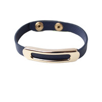 WOMEN GOLD BUCKLE NAVY LEATHER BRACELET CUFF BUTTON SNAP SKINNY JEWELRY at Miss Dandy | Miss Dandy