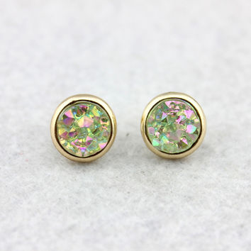 Rock Crystal Druzy Stud Earrings for Women Crystals Druzy Button Stud Earrings