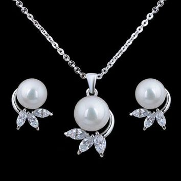 ONETOW The bride Earrings Necklace Shell Pearl Rhinestone chain set