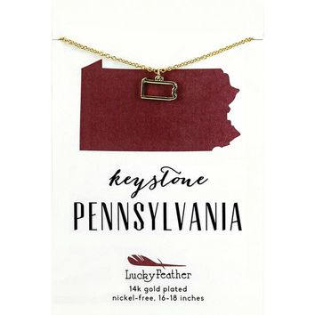 State of Pennsylvania Necklace in 14K Yellow Gold-Plate