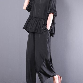 Casual Lacing Hem Shirts Two-piece Outfits for Women