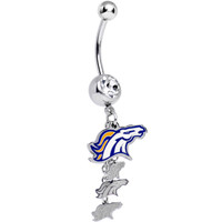 Officially Licensed NFL Clear Gem Denver Broncos Dangle Belly Ring | Body Candy Body Jewelry