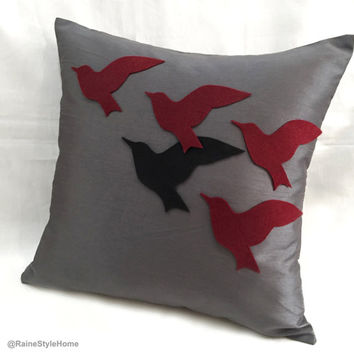 The Unique One. Black Bird In Flying Birds Grey Burgundy Pillow Cover.  Modern 16inch Decorative Cushion Cover. Housewarming Gift