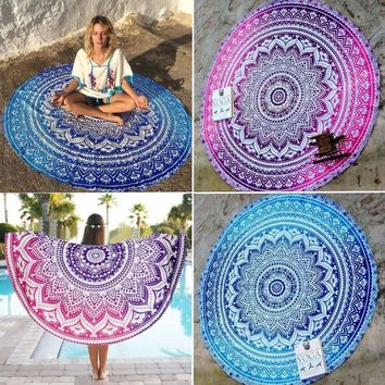 Round Mandala Hippie Bohemian Tapestry Beach Throw Towel Yoga Mat Indian Blanket