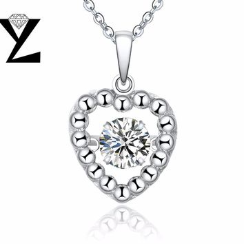 YL Love Heart 925 Sterling Silver Fine Jewelry Pendants Necklaces for Women Dancing Topaz Natural Stone Price Jewelry