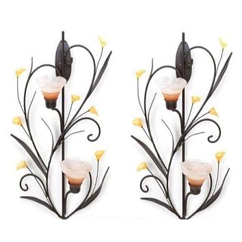 2 Amber Lilies Candle Wall Sconces