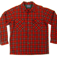 Vintage Pendleton Red Plaid Flannel - Shirt Button Down Wool Outdoors Preppy Ivy League Menswear - Men's Size Medium Med M