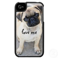 love me - cute mops iphone 4 covers from Zazzle.com