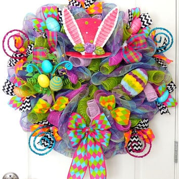 Pink Mad Hatter Wreath Deco Mesh Easter wreath Alice in Wonderland wreath RAZ Easter Egg Door Hanger White Rabbit Bunny Door Wall Decoration