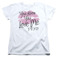 GOSSIP GIRL/YOU LOVE ME - S/S WOMEN'S TEE - WHITE - LG