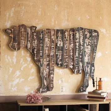 Reclaimed Wooden Wall Hanging ~ Cow