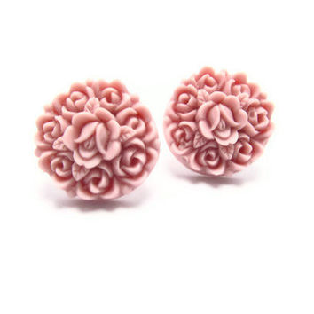 Lavender resin Floral Stud Earrings -Flower Earring Post- Great gift for the holiday