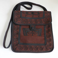 Dark Burgundy Brown Wool Crossbody Purse Guatemala Embroidered