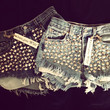 High waisted denim shorts super frayed with and super silver studded all sizes by Jeansgonewild