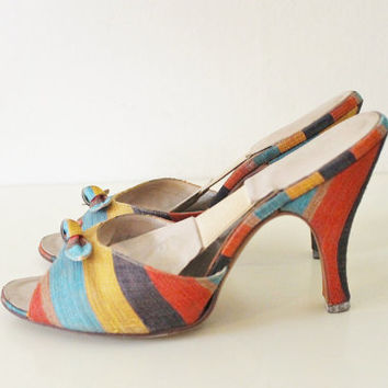 Vintage 50's Multi Color Sabrina Springolator Mule Kitten Heel Shoes 5 1/2 B