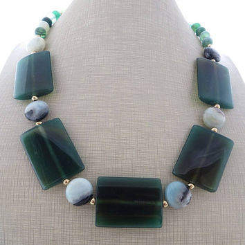 Green agate necklace, amazonite necklace, chunky stone necklace, big bold necklace, large bead necklace, italian jewelry, modern jewelry