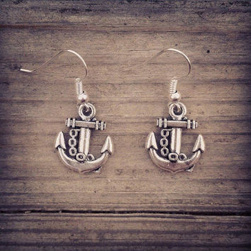 Silver Plated Anchor chain charm Earrings Jewelry