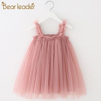 Bear Leader Girls Dress 2019 Summer Mesh Sling Girls Clothes Solid Princess Dress Toddler Tutu Dresses Baby Girl Dress