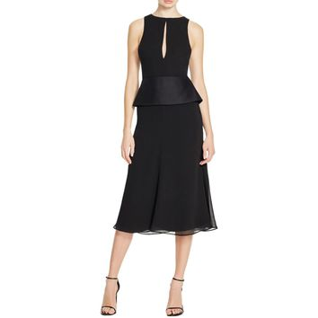 Cameo Womens Chiffon Peplum Cocktail Dress
