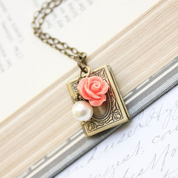 Book Locket Necklace Pendant Necklace Peach Coral Rose Charm Pearl Charm Necklace Secret Hiding Place Photo locket Vintage Style Gold Brass