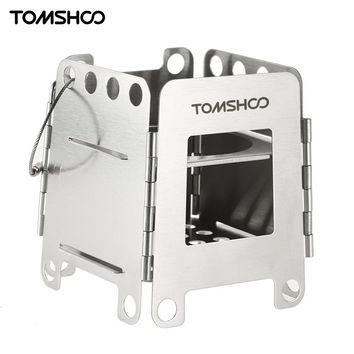 TOMSHOO Stainless Steel Folding Wood Stove Pocket Stove Lightweight Burner Camping Stove Outdoor Picnic Backpacking Equipment