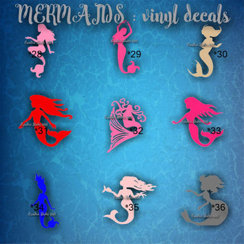 MERMAID vinyl decals - 28-36 -  vinyl stickers - car decals - custom vinyl stickers - personalized decal