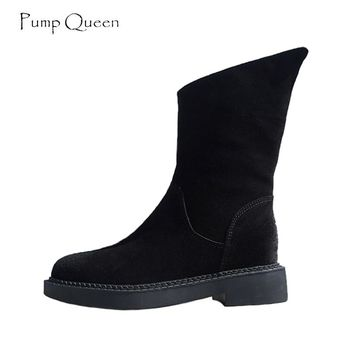 PumpQueen Cool High Ankle Boots Women 2018 Autumn Winter Shoes Woman add Plush Fashion Zipper Round Toe Ladies Martin Boots