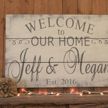 Welcome To Our Home Wood Sign Pallet Sign Family Name Sign Personalized Sign Wedding Gift Housewarming Gift Bridal Shower Anniversary