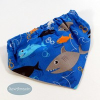 Shark Dog Bandana, Scrunchie style, select sizes, ready to ship