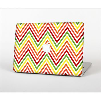 The Yellow & Red Vintage Chevron Pattern Skin Set for the Apple MacBook Pro 15""