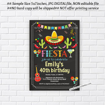 Mexican Fiesta Birthday invitation, Fiesta Party Birthday Invitation for any age, Whimsical design Colorful Festive birthday - card 676