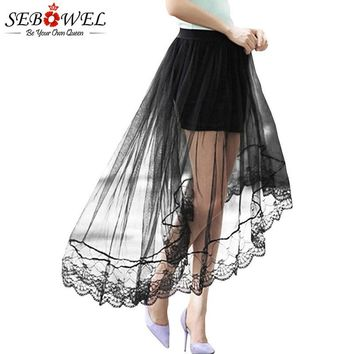 SEBOWEL Women's Black Lace Tulle Overlay Skirt Hi-lo Hem Female Patchwork Mermaid Skirts for Womans Petticoat New 2018 Stylish