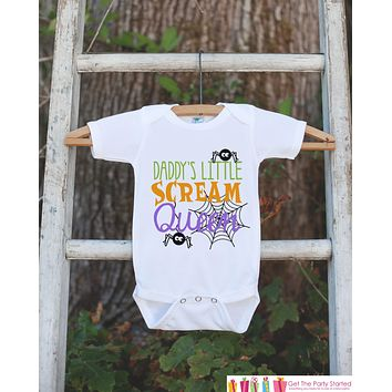 Girls Halloween Shirt - Daddy's Scream Queen - Funny Halloween Tshirt or Onepiece - Baby Girl Halloween Outfit - Kids Halloween Costume