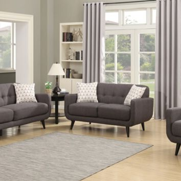 2 pc Crystal collection charcoal fabric upholstered mid century modern sofa and love seat set