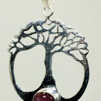 Sterling Silver Tree Of Life Pendant with Star Ruby