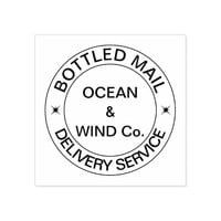 Bottled Mail Delivery Service funny customizable Rubber Stamp