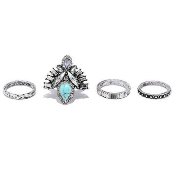 Wonderfully Wild Silver and Turquoise Ring Set