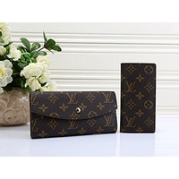 LV Fashion Trending Women Leather Zipper Tote Handbag Wallet Purse Bag Two piece Set Coffee LV Print G-MYJSY-BB