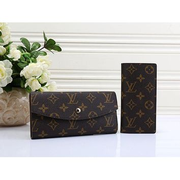 "LV ""Louis Vuitton"" Popular Women Men Leather Card Package Bag Two Piece Coffee LV Print I-MYJSY-BB"