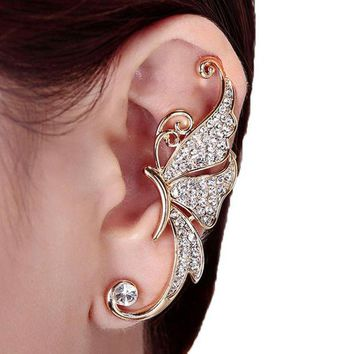 DCCKV2S Kingfansion Splendid Cute Crystal Butterfly Wings Ear Clip Clamp Earring Fashion Jewelry for Women(only 1pc) (White)