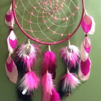 Dream catcher Pink goose turkey rooster guinea feathers