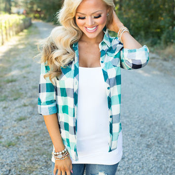 Amazed By Everything You Do Plaid Top Jade