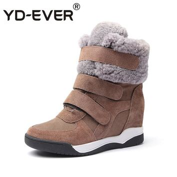 YD-EVER genuine leather Women Casual Shoes winter Platform Wedge Boots Height Increasing sneakers hook warm wool fur snow boots