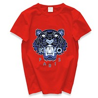 Kenzo New fashion letter tiger print couple top t-shirt Red