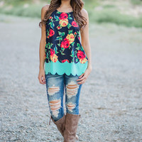 Bright Side Floral Scalloped Tank (Black)