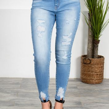 While Lined Pale Wash Denim